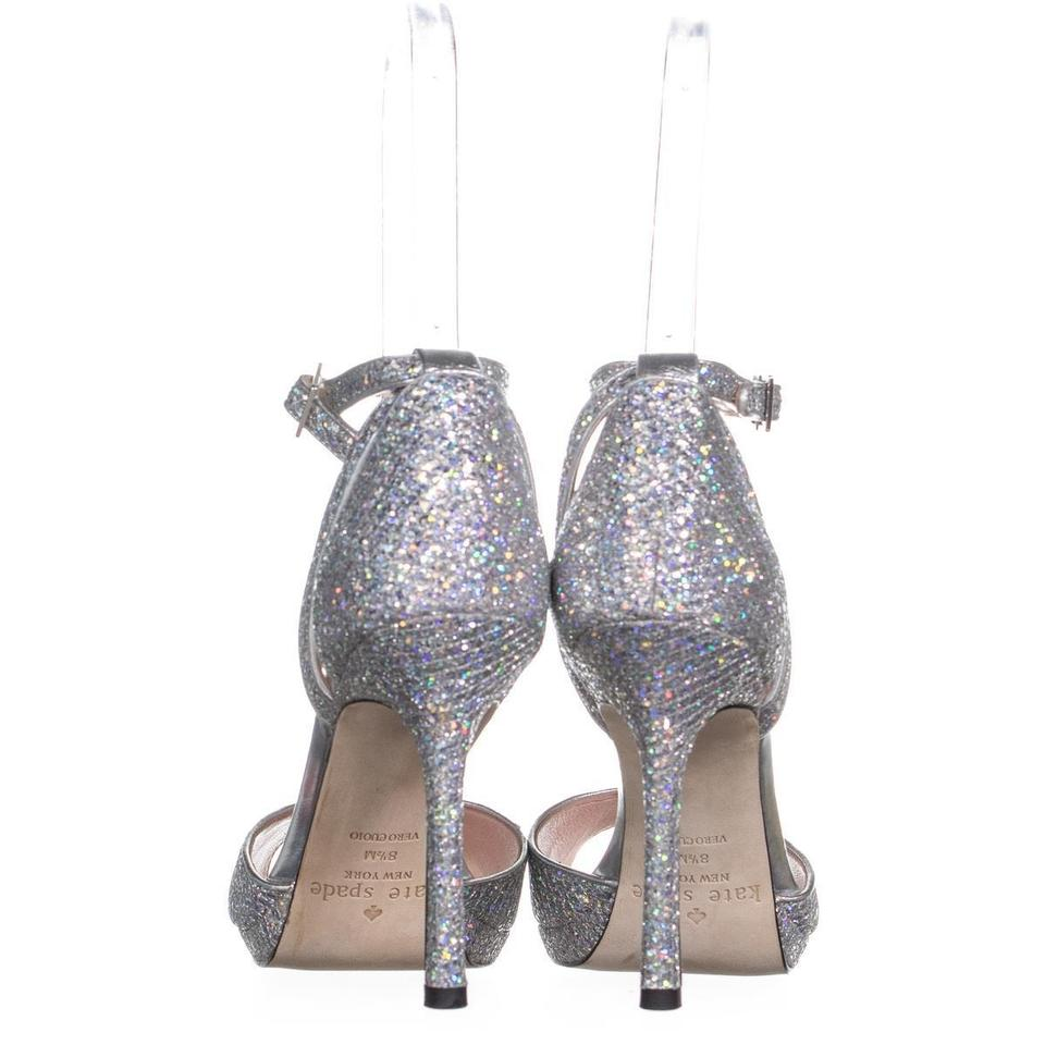 eee1482a274e Kate Spade Silver Franklin Peep Toe Ankle Strap Sandals 748 Pumps ...
