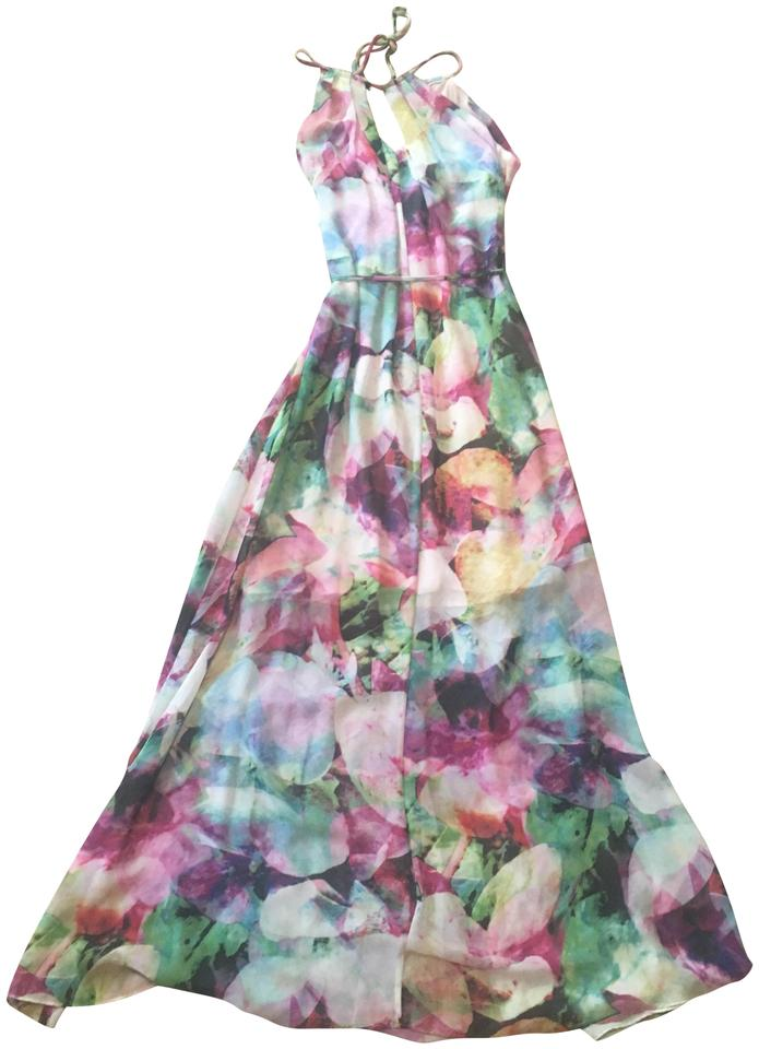 5f2a2e4a9dd6 Blue Purple White Green Yellow Pink Maxi Dress by Maggy London Keyhole  Watercolor Maxi Image 0 ...