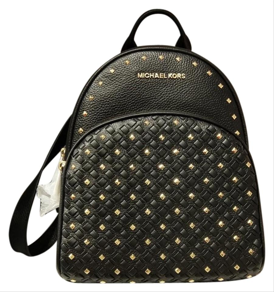 cc56a21873 Michael Kors Abbey Medium Woven Studded Black Leather Backpack - Tradesy