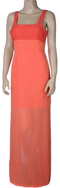 Item - Coral Bcbg Two-tone Sheer Lace Maxi Long Formal Dress Size 6 (S)