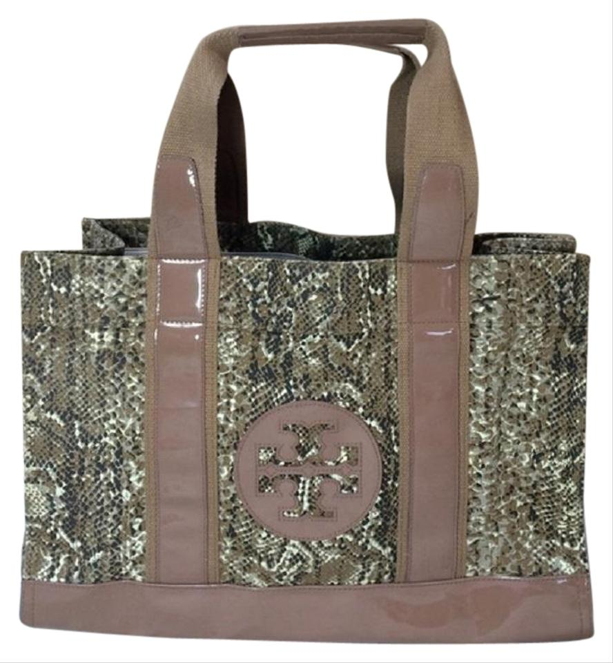 8d7e0d4cd5c Tory Burch   Patent Beige Brown Green Snakeskin Canvas Tote - Tradesy