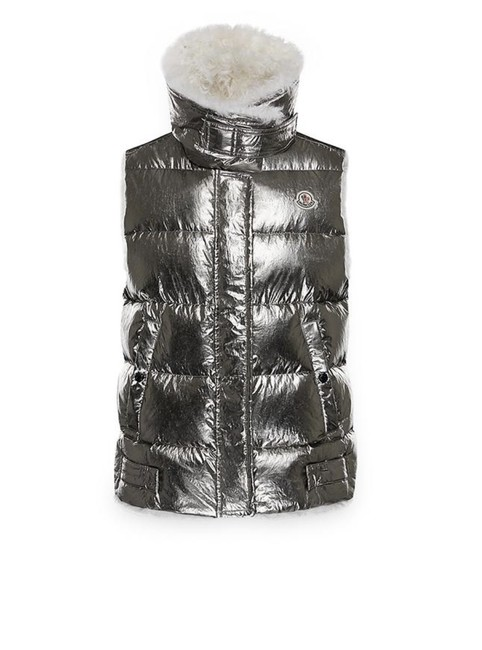 """Item - Silver """"Kerria"""" Metallic Puffer Vest Size OS (one size)"""