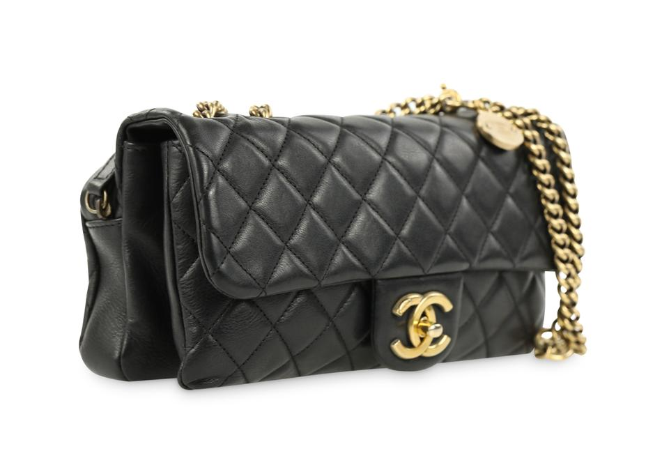 81342275a143 Chanel Classic Flap Cc Crown Quilted Small Black Leather Shoulder Bag