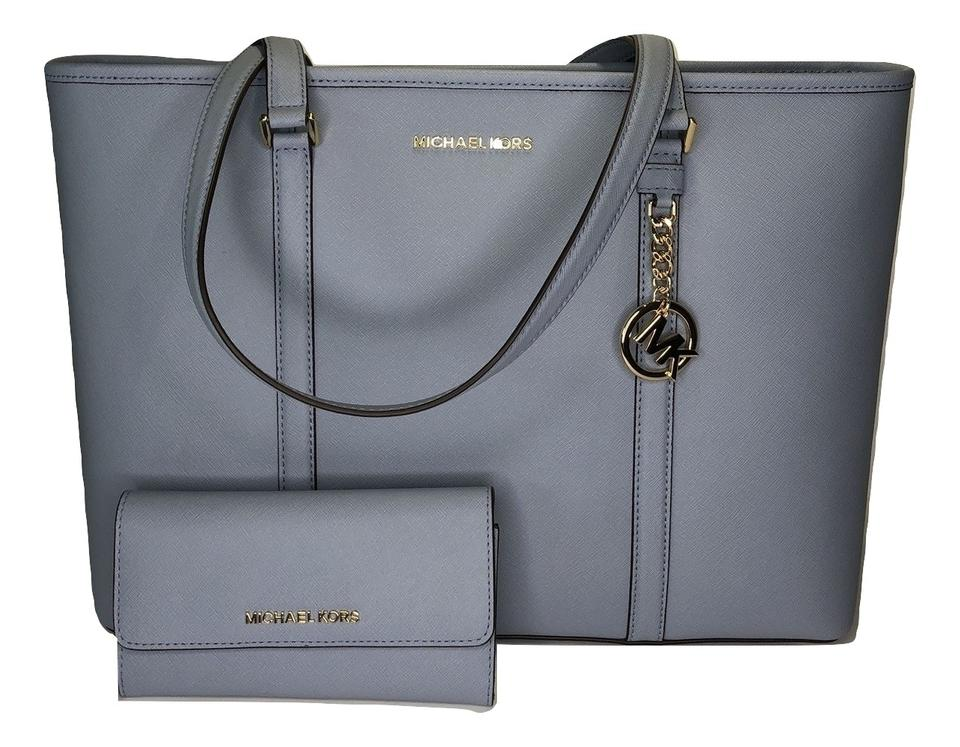 7896fb6ddba Michael Kors Sady Large Mf Tz Tote and Matching Wallet Pale Blue/Navy  Leather Shoulder Bag