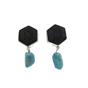 Stephen Dweck Stephen Dweck Sterling Silver Carved Onyx Turquoise Clip On Earrings
