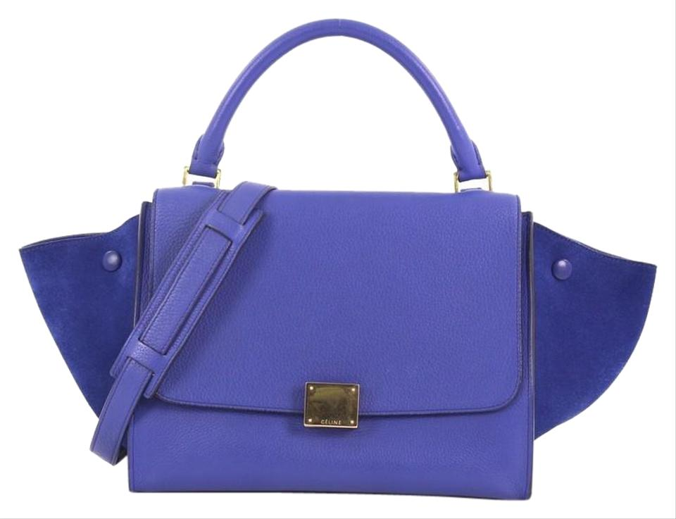 fd319c3ae1a Céline Trapeze Handbag Small Blue Leather Tote - Tradesy