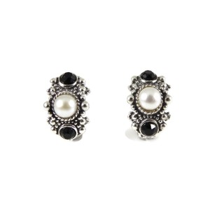 Stephen Dweck Stephen Dweck Sterling Silver Pearl Onyx Semi Hoop Earrings