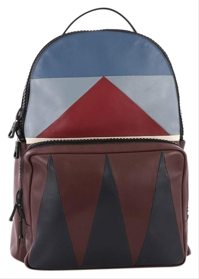 156660fed5e1 Valentino Patchwork Large Burgundy and Blue Leather Backpack - Tradesy