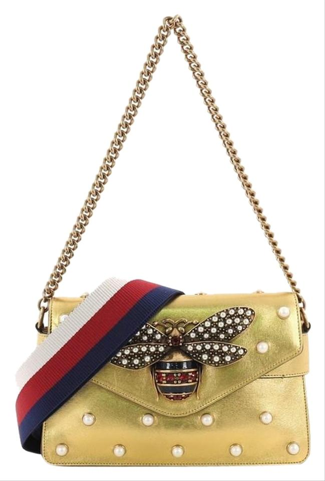bf99dc5094e Gucci Broadway Pearly Embellished Mini Gold Leather Shoulder Bag ...