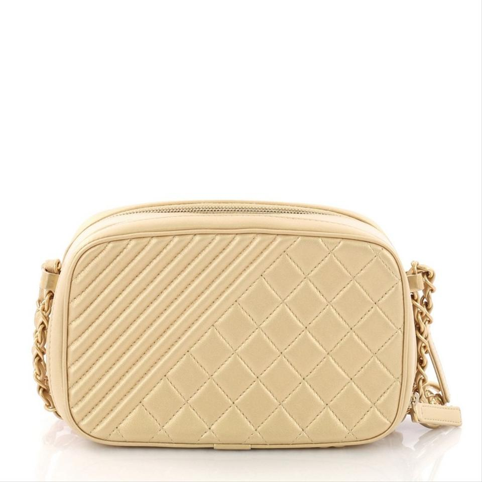 6375ba21342222 Chanel Camera Boy Coco Quilted Small Gold Leather Shoulder Bag - Tradesy