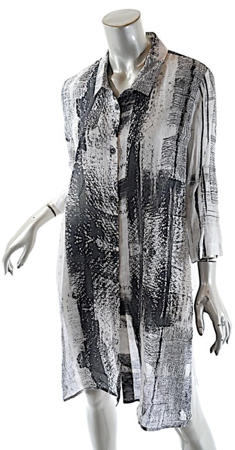 Item - Black White Grey Graphite Ramie Long Abstract Pattern Bd Tunic Mid-length Short Casual Dress Size 12 (L)