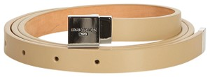 Gucci Louis Vuitton Brown Beige Leather San Tulle Belt Spain w Box SMALL