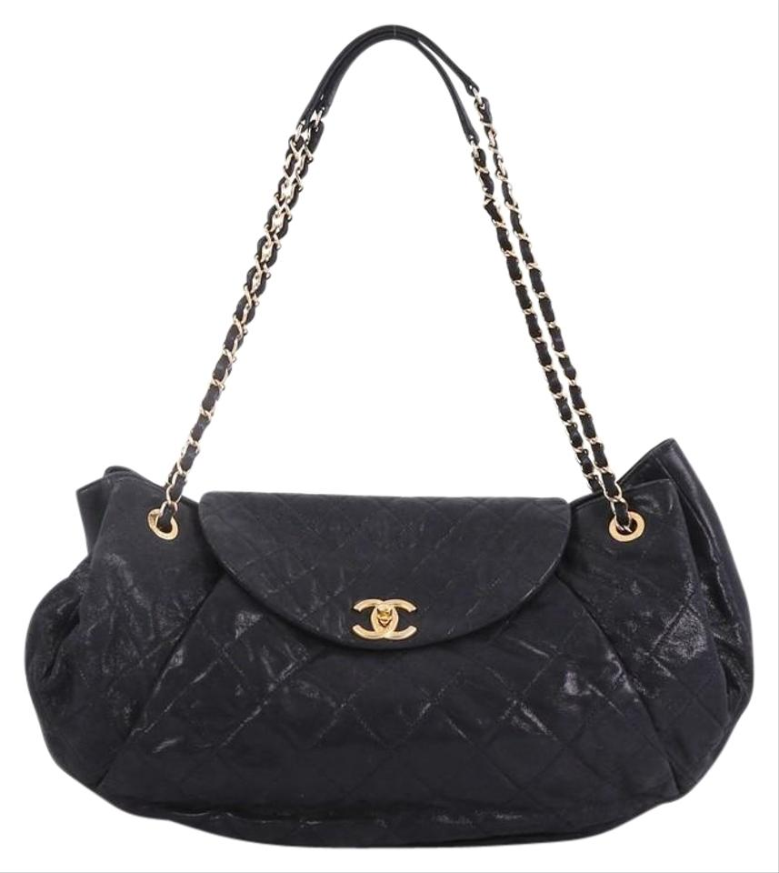 b4b0c1e4fa5 Chanel Classic Flap Crescent Accordion Quilted Glazed Calfskin Large Black  Leather Shoulder Bag