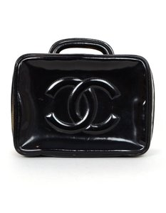 Chanel Vanity Cosmetic Patent Leather Cc Black Travel Bag