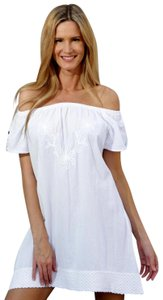 Lirome short dress White Tunic Embroidered Of The Shoulders Lace Open Shoulder on Tradesy