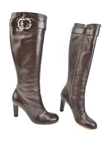 Gucci Gg Logo Leather Silver Brown Boots