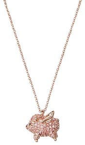Kate Spade KATE SPADE 12K Rose-Gold Imagination Pave Pig Mini Pendant Necklace w/