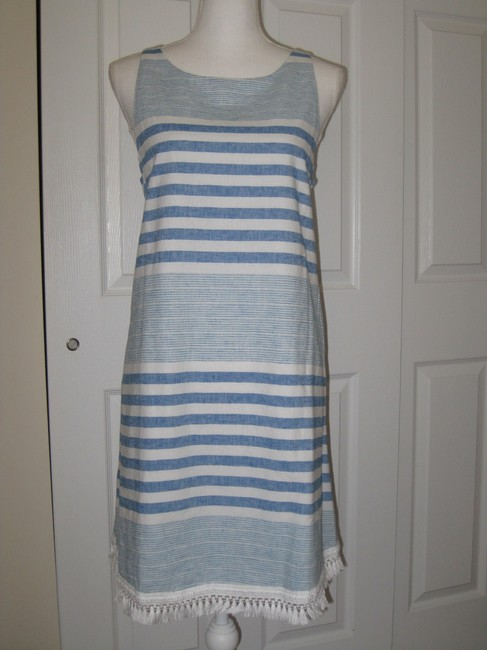 Item - Blue/White Cotton Linen Striped Shift Mid-length Short Casual Dress Size 10 (M)