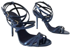 Burberry Alysa Carbon Metallic Wrap Around Blue Sandals