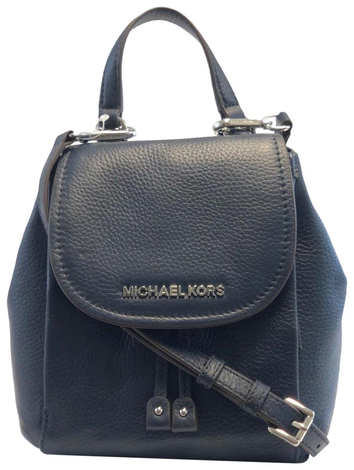 23a9ee2802 Michael Kors New Women s Riley Navy Small Flap Pack Blue Leather Cross Body  Bag
