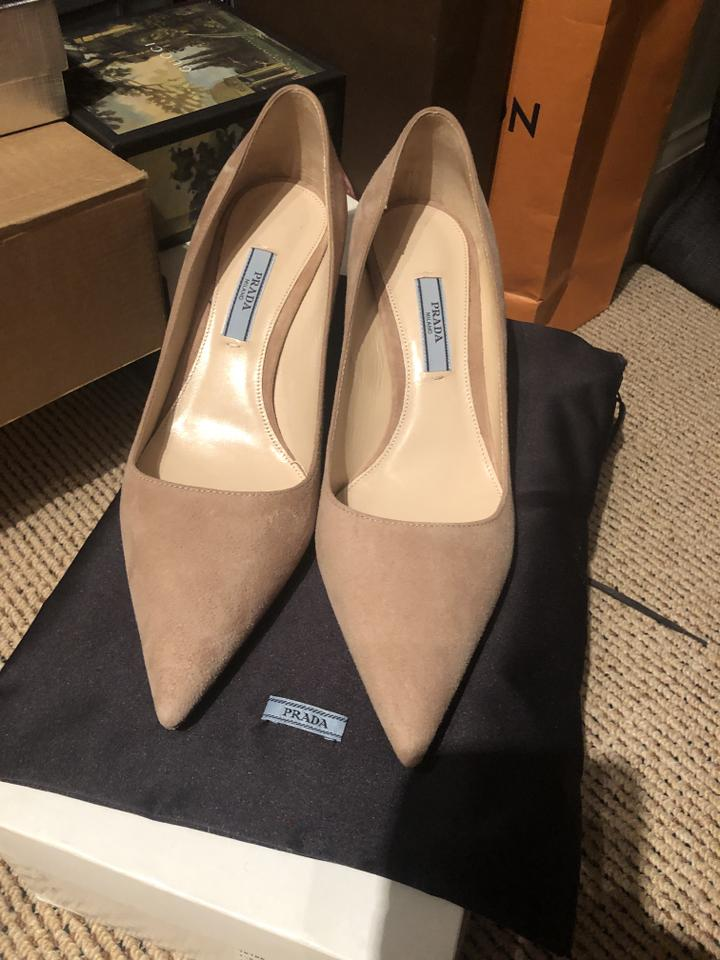 20d1055cb6b Prada Pointed Toe Stiletto Suede Kitten Leather Nude Pumps Image 8.  123456789