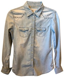 American Eagle Outfitters Cotton Button Down Shirt Light Denim Blue