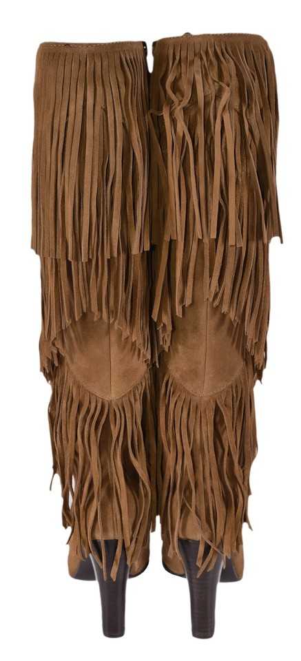 27112fd11d6 Saint Laurent Brown New Ysl Cigaro Lily 95 Fringed Knee High Boots Booties  Size US 5 Regular (M