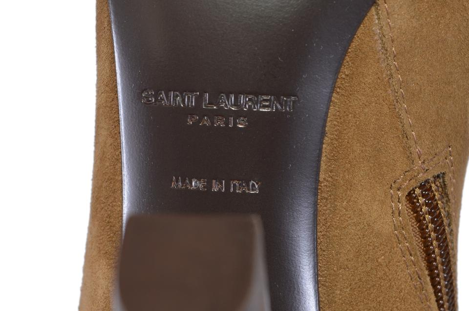 c09eb0bd7c4 Saint Laurent Brown New Ysl Cigaro Lily 95 Fringed Knee High Boots ...