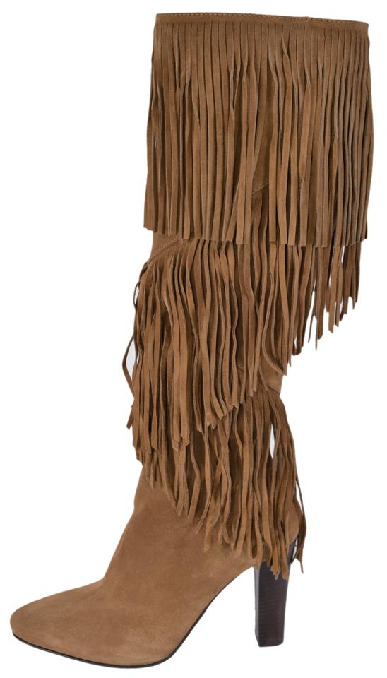 c79f839015e Saint Laurent Brown New Ysl Cigaro Lily 95 Fringed Knee High Boots ...