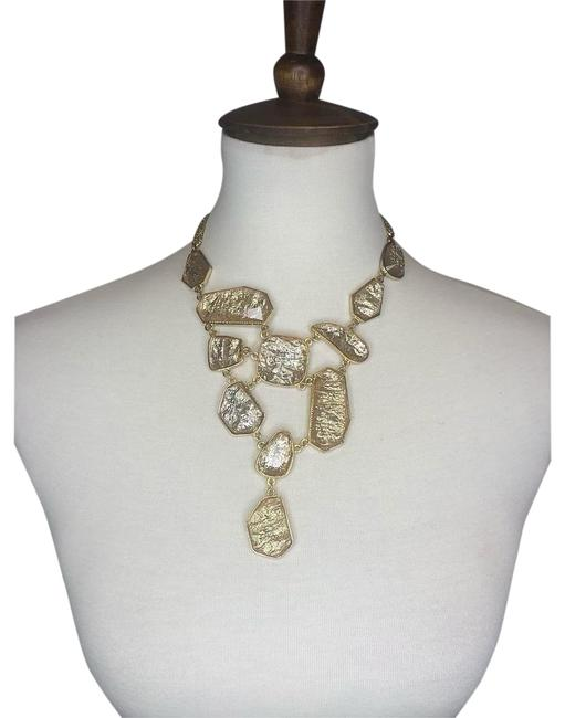 Item - Gold Crystal And Gem Statement Bib Necklace