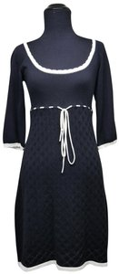 My Michelle short dress Black White Knit Eyelet Sweater Textured Color-blocking on Tradesy