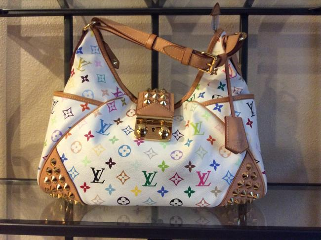 Item - White and Multi Color Canvas Shoulder Bag