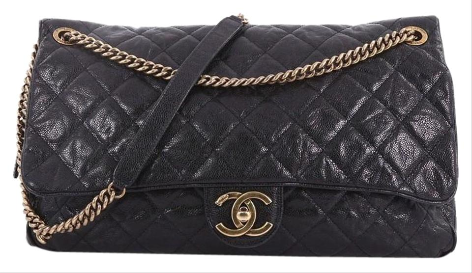2156ab830fb0 Chanel Classic Flap Shiva Quilted Glazed Caviar Maxi Black Leather ...