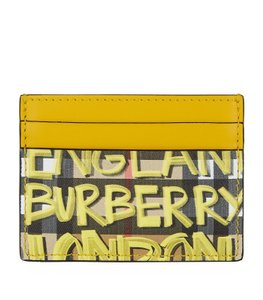 Burberry Burberry Graffiti Print Vintage Check Leather Card Case