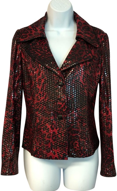 Preload https://img-static.tradesy.com/item/24622149/red-redblack-wet-look-stretchy-xs-blouse-size-2-xs-0-1-650-650.jpg