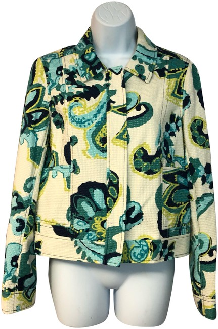 Preload https://img-static.tradesy.com/item/24622158/tory-burch-teal-printed-zip-front-silk-cotton-blend-jacket-blouse-size-4-s-0-1-650-650.jpg