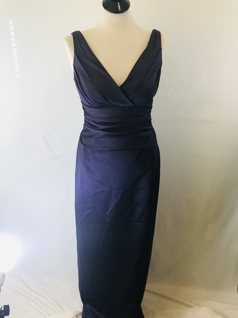 Item - Lapis Polyester Sleeveless Satin Slip Traditional Bridesmaid/Mob Dress Size 6 (S)