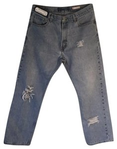 Roots & Wings Vintage Denim Distressed Refashioned Straight Leg Jeans-Distressed
