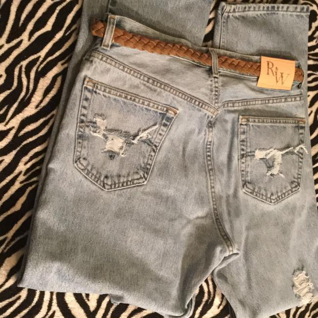 Roots & Wings Vintage Denim Distressed Refashioned Straight Leg Jeans-Distressed Image 10