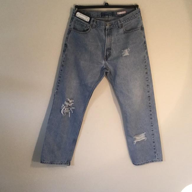 Roots & Wings Vintage Denim Distressed Refashioned Straight Leg Jeans-Distressed Image 2