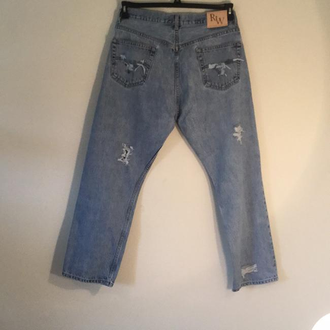 Roots & Wings Vintage Denim Distressed Refashioned Straight Leg Jeans-Distressed Image 3