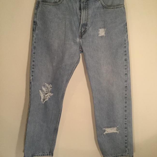Roots & Wings Vintage Denim Distressed Refashioned Straight Leg Jeans-Distressed Image 4