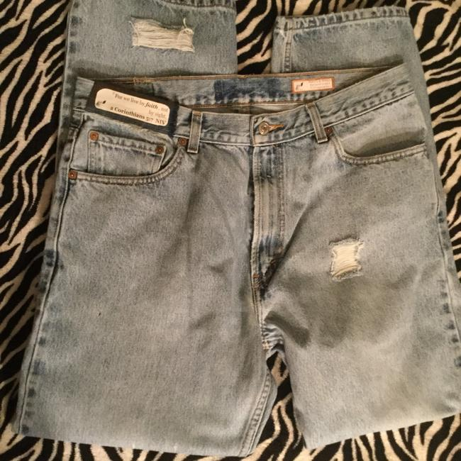 Roots & Wings Vintage Denim Distressed Refashioned Straight Leg Jeans-Distressed Image 5