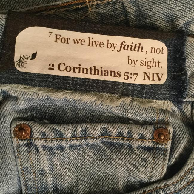 Roots & Wings Vintage Denim Distressed Refashioned Straight Leg Jeans-Distressed Image 6