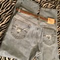 Roots & Wings Vintage Denim Distressed Refashioned Straight Leg Jeans-Distressed Image 9