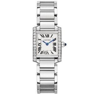 Cartier Silver Tank Francaise Aftermarket Diamond Bezel 2384 Watch