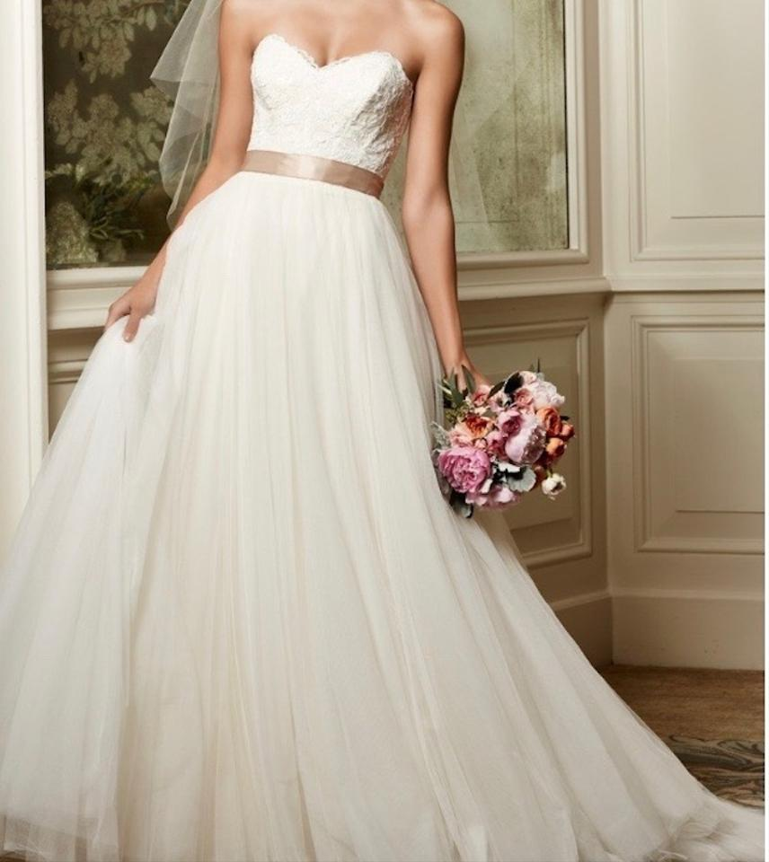 Watters Almond Tulle With Beaded Lace Motifs On Bodice