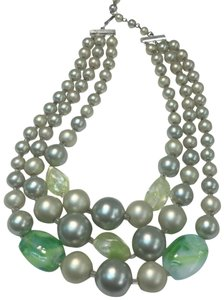 Vintage Vintage multi strand green Beaded Necklace