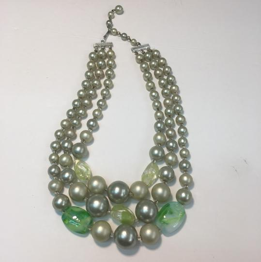 Vintage Vintage multi strand green Beaded Necklace Image 1