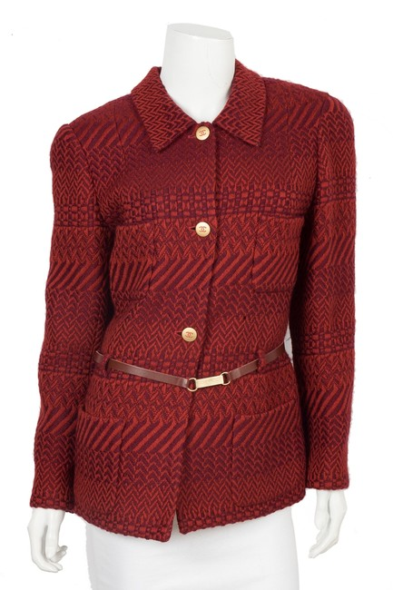 Item - Red Woven Jacket 46 Blazer Size 6 (S)